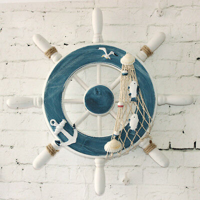 9inch Beach Wooden Boat Ship Steering Wheel Fishing Net Home Wall Decor