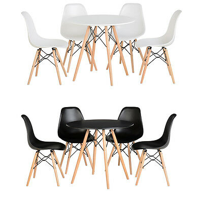 Eiffel Style Dining Table and 4 Chairs Set Black or White Kitchen Round Table