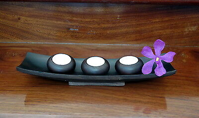 Candle Holders Woods Tea Light Set of 3 Brown Round Tray