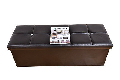 X Large Brown Faux Leather Ottoman Diamante Storage Box Footstool Toy Box (R)