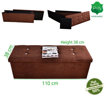 X Large Brown Ottoman Storage Bed for Bedding Bedroom, Toys Diamante Seat