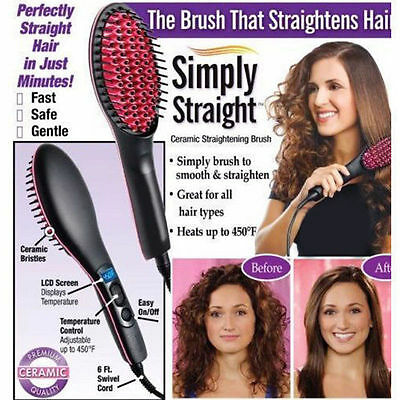 Simply Straight LCD Degital Control Cosmetic Brush PTC Hair Straightener Comb UK