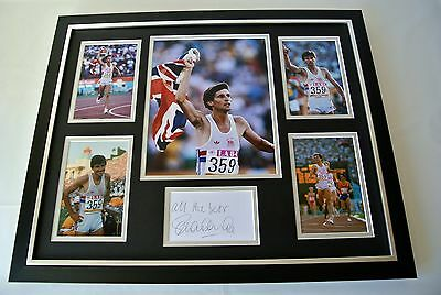 Sebastian Seb Coe SIGNED FRAMED Photo Autograph Huge display Olympic 1500m & COA
