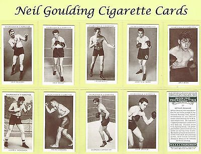 Churchman - Boxing Personalities 1938 #1 to #50 Cigarette Cards (Boxers)