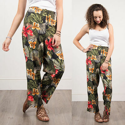 Retro Floral Pattern Loose Fit Trousers Summer Hawaiian Holiday Womens  14