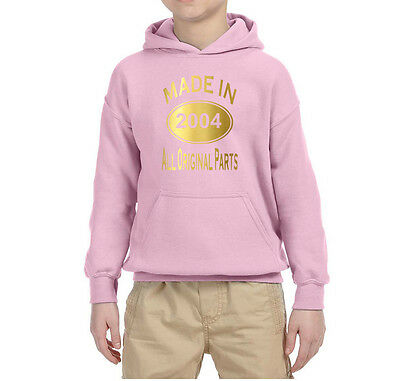 Made In 2004 All Orignal Parts Kids Hoodies Gold All Sizes Light Pink