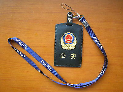 2016's series China Police Badge Certificate ID Holder,Lanyards,Cattle Leather