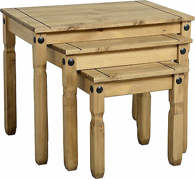 Corona Nest of 3 Tables Solid Wood Mexican Pine New Rustic Traditional