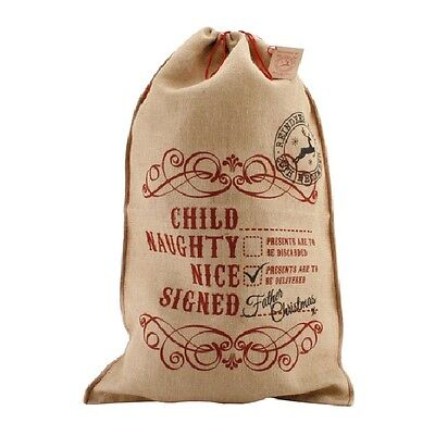 'Naughty or Nice'  Large Hessian Christmas Santa Sack