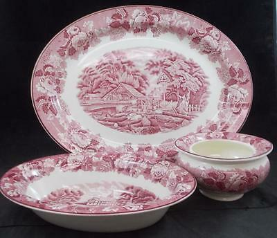 Wood & Sons ENGLISH SCENERY PINK 3 Piece Assortment Smooth Edge GREAT CONDITION