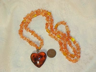 Large AMBER PUFFY HEART Pendant Vintage Necklace Plastic Beads No Clasp