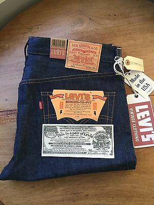 Vintage LEVIS 501 36x34 lvc 1978 Shrink to fit rED SELVAGE dENIM made in USA New