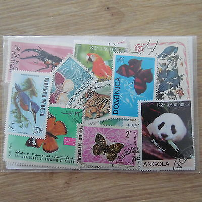 Promotion Timbres Animaux  : 100 Timbres Tous Differents / Animals Stamps
