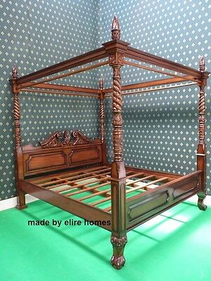 King size queen anne reproduction bed mahogany for Queen anne style bed