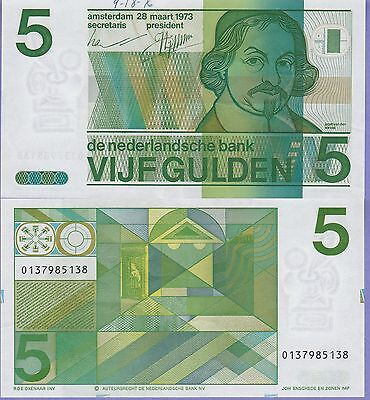 Netherlands 5 Gulden Banknote 1973 Extra Fine Condition Cat#95-5138