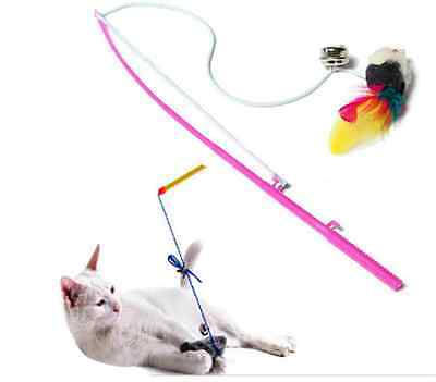 Kitten Cat Toy Mouse Feather On A Rod Teaser Bell Feather Play Pet Dangler Wand