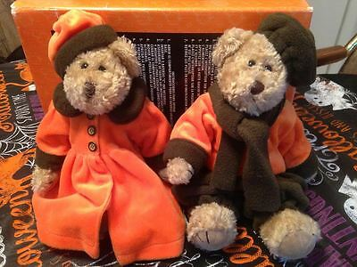 "Vintage 12"" Jointed Matching Pair Of Victorian Halloween Dressed Teddy Bears"