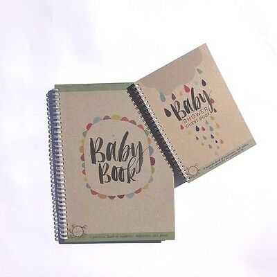 RhiCreative Baby Shower Guest Book & Baby Milestone Record Book Baby Gift idea