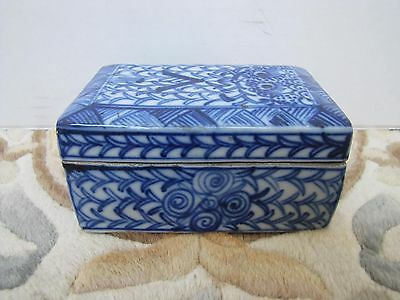 Antique Chinese Porcelain Tea Caddy Storage Box.