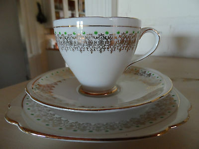 ROYAL STANDARD BONE CHINA TRIO TEA CUP Green Spots Vintage