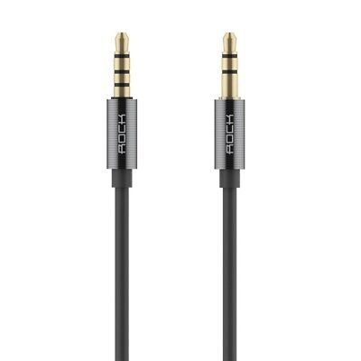 ROCK Aux Cable Stereo Audio 3.5mm Jack Male to Male In-line Control Tarnish..