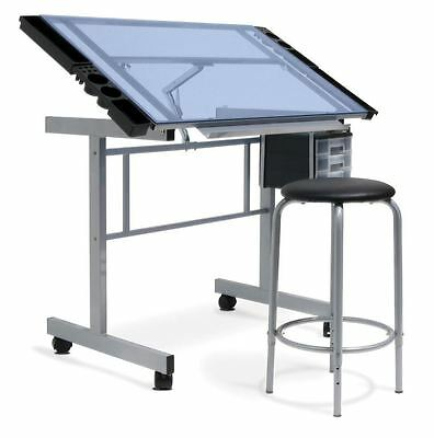 Drafting Table Chair Glass Adjustable Architect Desk Drawing Art Studio Craft