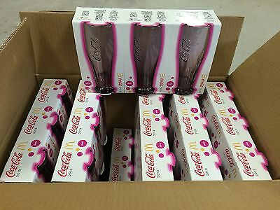 Box of Mac Donald's coca cola  glasses up side down Pink $ 1.10. Each. 2013