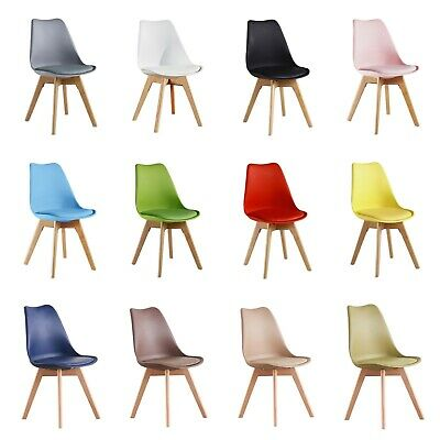 Tulip Lorenzo Dining Chair, Eiffel Inspired, Solid Wood ABS Plastic, Padded Seat