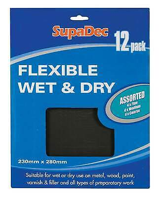 Waterproof Glass Paper Flexible Wet & Dry Sandpaper Assorted Pack of 12