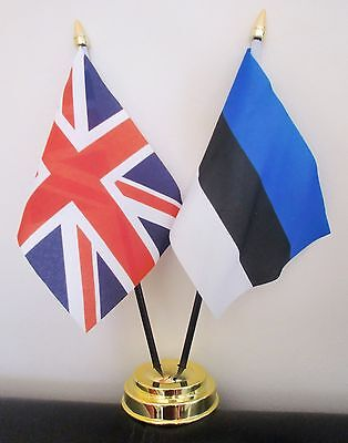 UNION JACK AND WEST RIDING OF YORKSHIRE TABLE FLAG SET 2 flags plus GOLDEN BASE