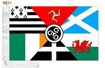 Pan Celtic Nations Courtesy Boat Flag Roped & Toggled