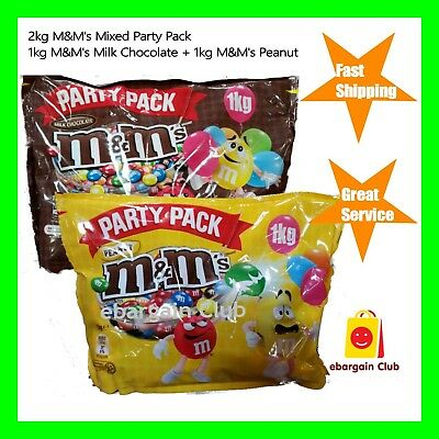 1kg M&M's Milk Chocolate + 1kg M&M's Peanut Mixed Party Pack Bulk M&Ms eBClub