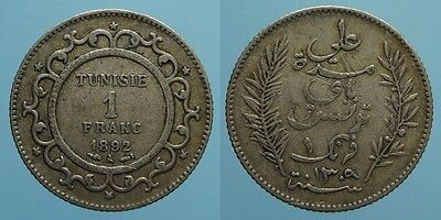 Tunisia 1 Franco Ah 1309/1892 A French Protectorate Bb