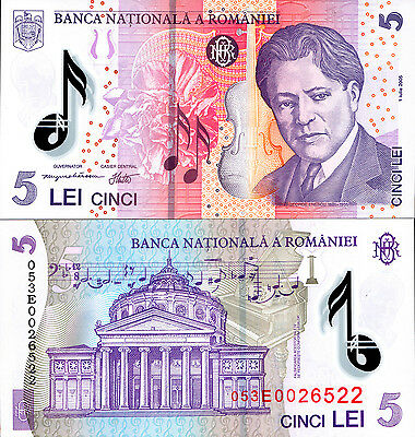 Romania 2005 (2007) , 5 Lei , Polymer Note UNC