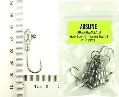 20  Size1/0   1/8OZ  Jig Heads  High Chemically Sharpened Hooks Fishing Tackle