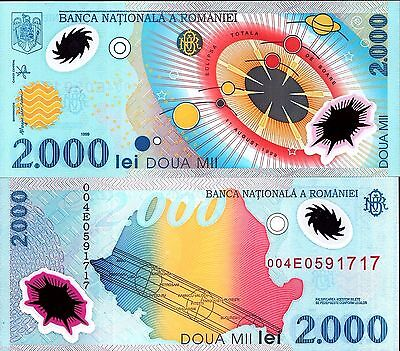 Romania 1999 , 2000 Lei , 1st Polymer Note UNC