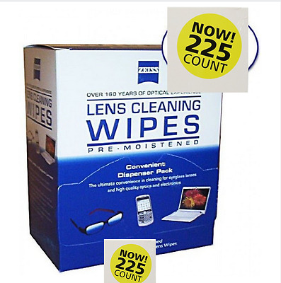 Zeiss Pre-Moistened Lens Cloth Wipes 225 Ct  Glasses Camera Phone Cleaning New