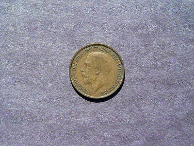 1921 Great Britain 1/2  Penny Bronze Coin