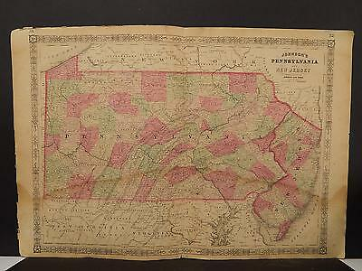 Johnson's Maps, 1864 United States, Pennsylvania, New Jersey O4#08