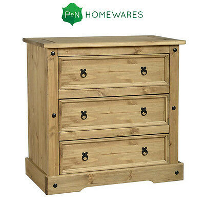 Corona 3 Drawer Chest in Distressed Waxed Pine Rustic Pine Chest Bedroom Living