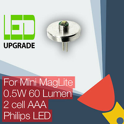 Mini MagLite LED Conversion/upgrade bulb Torch/flashlight 2AAA Cell Philips LED