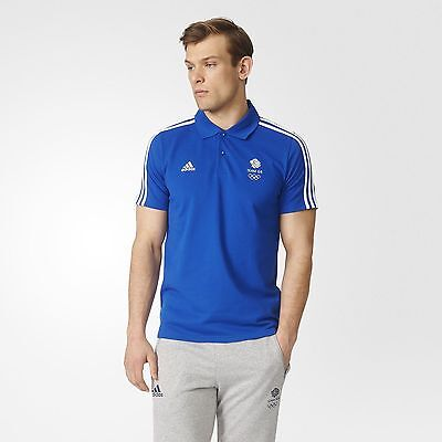 Official Adidas Olympics RIO 2016 Team GB Men's Climalite Polo Shirt- Blue