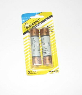 NEW 2 Pack Cooper Bussmann 60A General Purpose 250Vac Cartride Fuses BP/NON-60