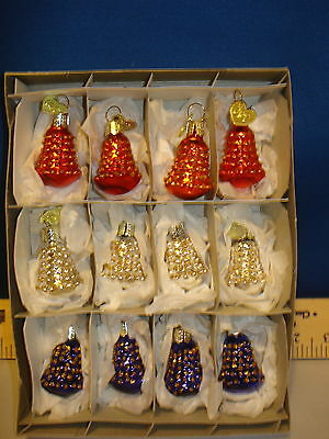Bell Ornaments Set of 12 Glass Bells with Gold Accents 1inch Old World 14004 239