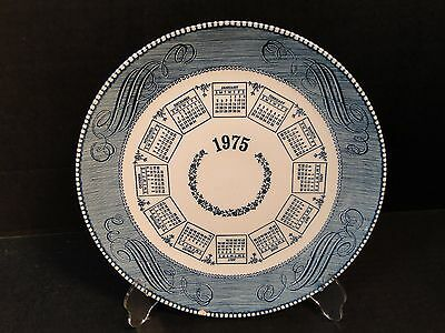 Currier Ives Royal China Calendar Plate 1975 Blue White