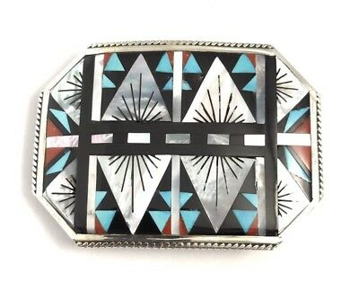 Native American Sterling Silver Zuni Multi-Color Stone Inlay Belt Buckle
