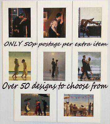 """Jack Vettriano Mounted Art Prints 10"""" x 8""""  Choose 50 designs pictures multiples"""