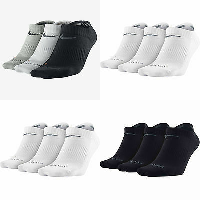 Nike No Show 3 Pair Socks Dri Fit Ankle Low Sports Trainer Gym Black White Size