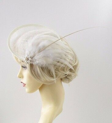 Large Cream Ivory Quill Feather Saucer Disc Fascinator Hat Races Sinamay Vtg 659