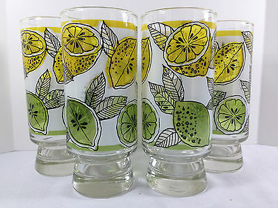 4 Libbey Citrus Lemon Lime Footed Drinking Glasses Tumblers Wedge Slice Trims